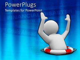 PowerPlugs: PowerPoint template with animated white figure inside a life buoy on a blue background