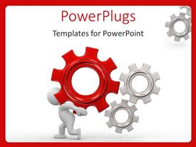 PowerPlugs: PowerPoint template with animated white human figure carrying a red gear with other white gears
