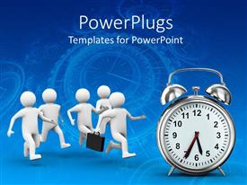 PowerPoint template displaying animated white human figures running towards an alarm clock