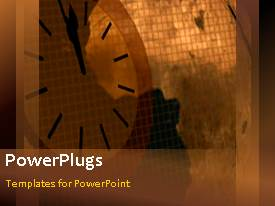 PowerPlugs: PowerPoint template with animated world map moving over orange gridlines