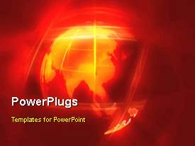 PowerPlugs: PowerPoint template with animation of earth globe in orange themed background
