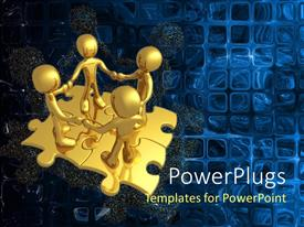 PowerPoint template displaying animation of four golden human figures standing on puzzles