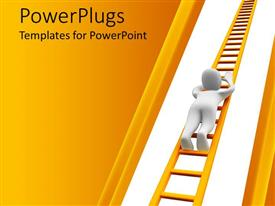 PowerPlugs: PowerPoint template with animation of a human figure climbing a gold ladder