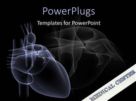 PowerPlugs: PowerPoint template with animation of a human heart on blue and black background