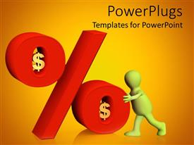 PowerPlugs: PowerPoint template with animation of a human pushing a large percentage symbol