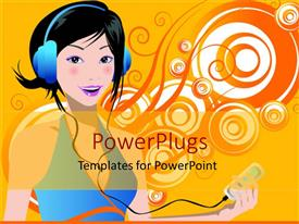 PowerPlugs: PowerPoint template with animation of a lady listenng to music with a headphone