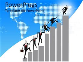 PowerPlugs: PowerPoint template with animation of lots of business people climbing up a bar chart