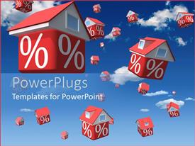 PowerPlugs: PowerPoint template with animation of lots of small red houses in the air with a % symbol