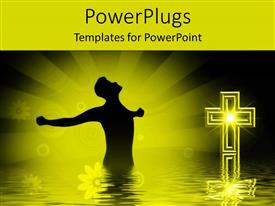 PowerPlugs: PowerPoint template with animation of a man standing in water with a cross