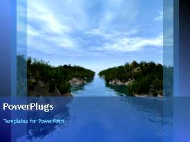 PowerPlugs: PowerPoint template with animation of nature with calm between trees and blue sky overhead