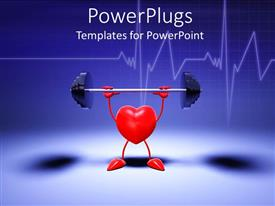 PowerPlugs: PowerPoint template with animation of a red heart lifting a weight with blue background