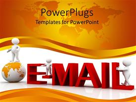 PowerPlugs: PowerPoint template with animation of three humans and  a globe with an email symbol