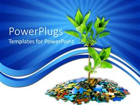 PowerPlugs: PowerPoint template with animation of a tree growing from puzzles with a blue background
