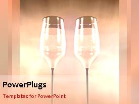 PowerPlugs: PowerPoint template with animation of two large wine glasses over pink background