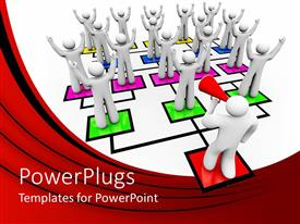 PowerPlugs: PowerPoint template with animation of white human figures standing on colored boxes