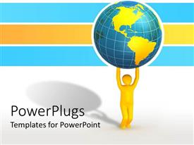 PowerPoint template displaying animation of a yellow human figure lifting up an earth globe