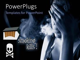 PowerPoint template displaying anti-smoking flyer with cigarette and text SMOKING KILLS