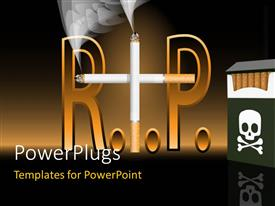 PowerPlugs: PowerPoint template with anti-smoking poster with cigarette forming RIP and skull on cigarette pack