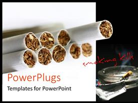 PowerPlugs: PowerPoint template with anti smoking flyer with tobaaco in rolling papers and text smoking kills