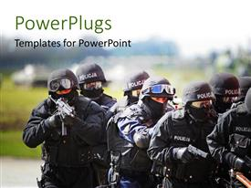 PowerPlugs: PowerPoint template with anti terrorist swat commando approaching the hijacker
