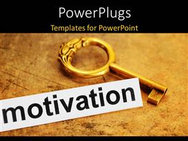 PowerPlugs: PowerPoint template with antique key over brown textured paper with motivation keyword in foreground