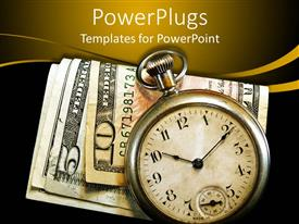 PowerPoint template displaying antique pocket watch on folded money