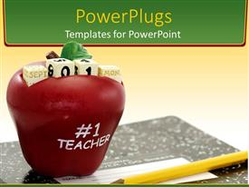 PowerPlugs: PowerPoint template with an apple along with different cubes on it and a lead pencil