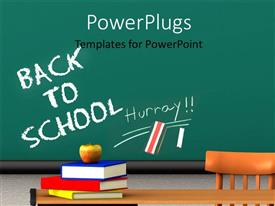 PowerPoint template displaying apple on book pile with words back to school on chalkboard