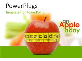 PowerPlugs: PowerPoint template with an apple a day concept depicting fresh appetizing apple tied with a measuring tape
