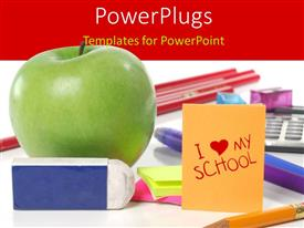 PowerPoint template displaying an apple, and lots of different school educational supplies