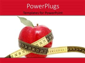 PowerPlugs: PowerPoint template with an apple and a measuring tape with white background