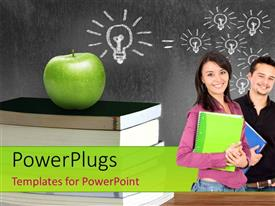 PowerPlugs: PowerPoint template with an apple over a bunch of books and students with number of light bulbs on chalk board in background