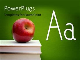 PowerPlugs: PowerPoint template with an apple over a number of books and place for text