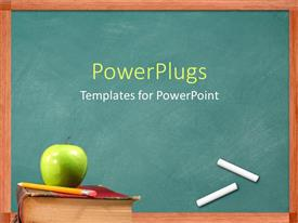 PowerPlugs: PowerPoint template with apple and pencil on book in front of chalkboard