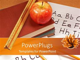 PowerPlugs: PowerPoint template with apple and ruler on stack of books placed on paper with alphabets