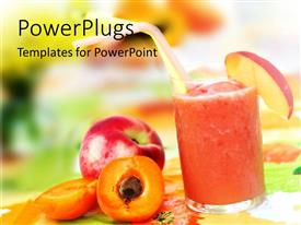 PowerPlugs: PowerPoint template with an apple shake long with peach and apple placed on the side of the glass