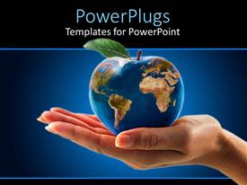 PowerPlugs: PowerPoint template with apple shaped Globe on female's hand