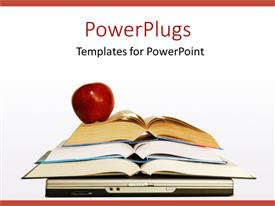 PowerPlugs: PowerPoint template with apple on stack of books and laptop