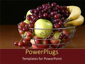 PowerPlugs: PowerPoint template with apples, grapes and bananas in a metallic silver  bowl