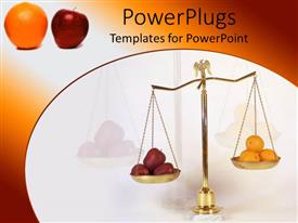 PowerPoint template displaying apples and oranges on the two parts of a gold colored scale