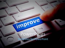 PowerPlugs: PowerPoint template with an approval button on the keyboard with a finger