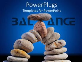 PowerPlugs: PowerPoint template with arc made of pebble stones with flat pebble stone on top of others and word balance on blue background
