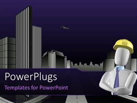 PowerPlugs: PowerPoint template with architect with city planning, with buildings