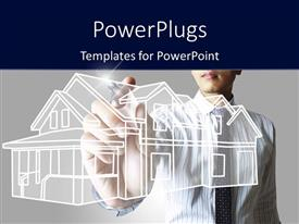 PowerPlugs: PowerPoint template with architect drawing blueprint of a house