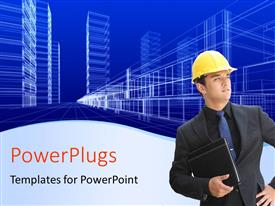 PowerPlugs: PowerPoint template with architect with notes and protective helmet with wire frame of office buildings