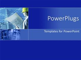 PowerPlugs: PowerPoint template with architect with a plan all in a blue template
