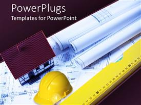 PowerPlugs: PowerPoint template with architect real estate theme with house, hardhat, liner, plans and papers on blueprint on gradient purple background