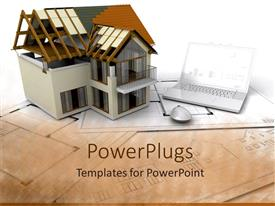 PowerPlugs: PowerPoint template with architectural design of building beside laptop and computer mouse on construction plan