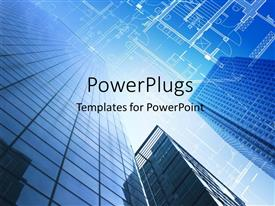 PowerPlugs: PowerPoint template with architectural design and floor plan with sky scraper in blue sky
