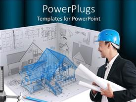PowerPlugs: PowerPoint template with architectural designs with architect carrying residential building plan
